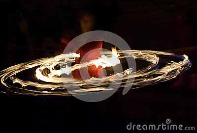 Fire hoop dancer