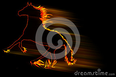 Fire horse running fast isolated on black