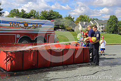 Fire Hose Training Kids Editorial Stock Photo