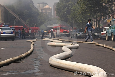 Fire hoses stretching