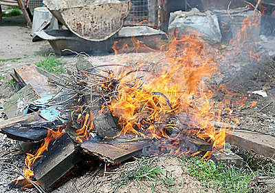 Fire illegal burn litter