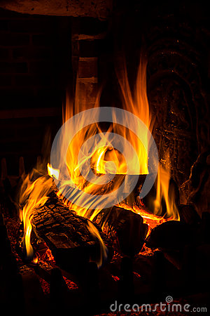 Free Fire In A Fireplace Royalty Free Stock Image - 30209496