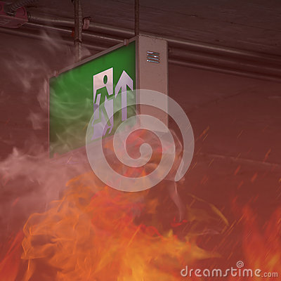 Free Fire In Building - Emergency Exit Royalty Free Stock Photo - 68166815