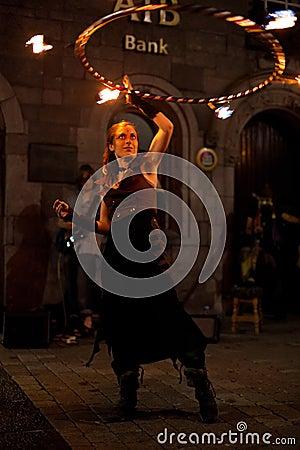 Fire juggler Editorial Stock Photo