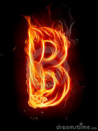 B Letter In Fire Fire Letter C Royalty Free