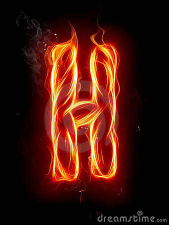 Fire Letter H Stock Photo Image 7197660