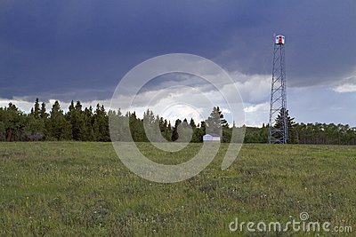Fire lookout tower and summer storm