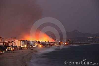 Fire Los Cabos Baja California sur Mexico Editorial Photo