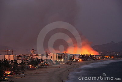 Fire Los Cabos Baja California sur Mexico 2 Editorial Photography