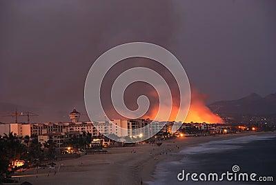Fire Los Cabos Baja California sur Mexico 2 Editorial Photography