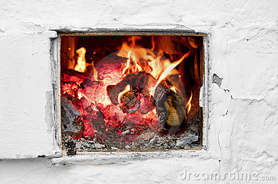 Fire in old stove