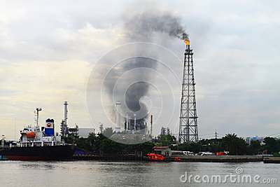 Fire over Refinery plant Bangkok Thailand  Editorial Stock Photo