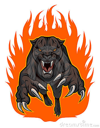 Fire Panther Vector Illustration