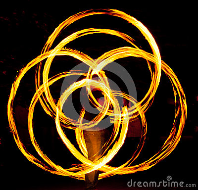 Fire poi in action