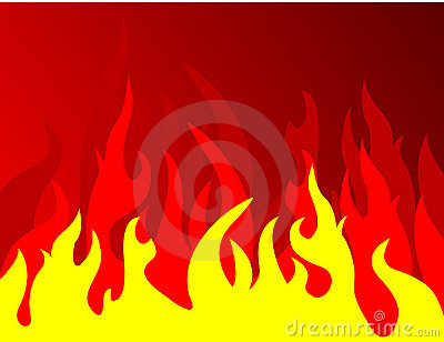 Fire on red background