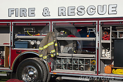 Fire Rescue Concept, Emergency Firetruck Closeup
