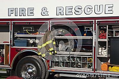 Fire Rescue Concept, Emergency Firetruck Closeup
