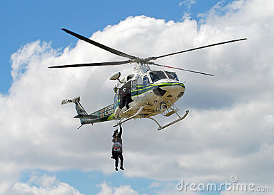 Fire rescue helicopter conducting training Editorial Stock Image