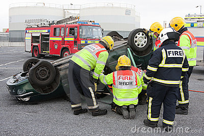 Fire and Rescue service at car crash training Editorial Photo