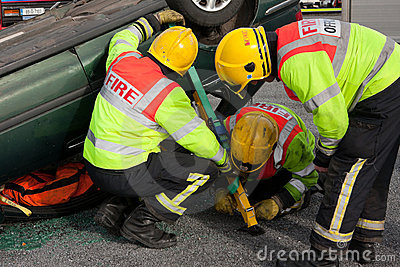 Fire and Rescue staff at car crash training