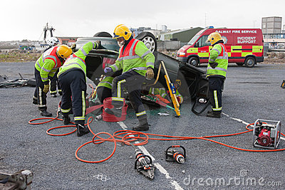 Fire and Rescue unit at car crash training