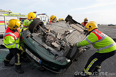 Fire and Rescue unit at car crash training Editorial Photography