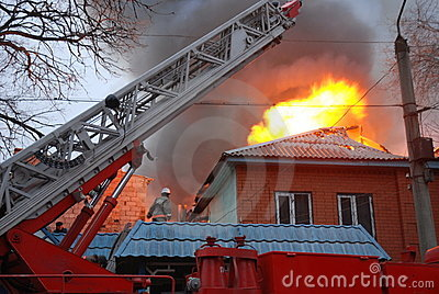 Fire in resident area, Astrakhan, Russia