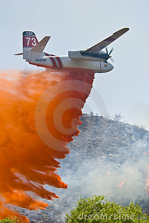 Fire retardant air drop Editorial Stock Photo