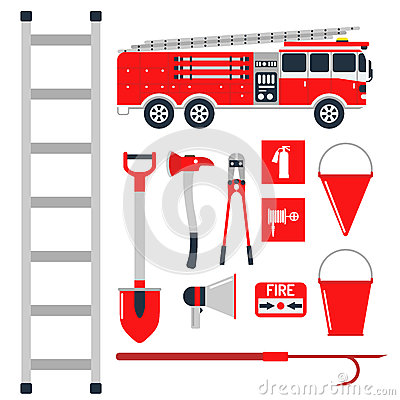 Free Fire Safety Equipment Emergency Tools Firefighter Safe Danger Accident Protection Vector Illustration. Stock Images - 94019994