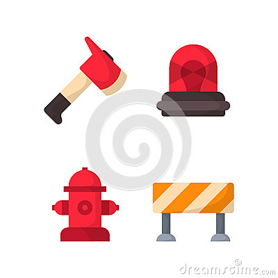 Fire safety equipment emergency tools firefighter safe danger accident protection vector illustration. Vector Illustration