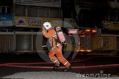 A fire scene Editorial Stock Image