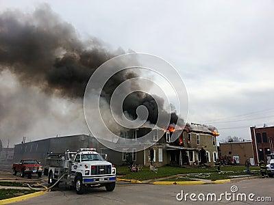 Fire scene with smoke