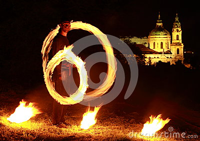 Fire show with church behind Editorial Photography