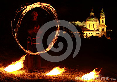 Fire show with church behind Editorial Stock Photo