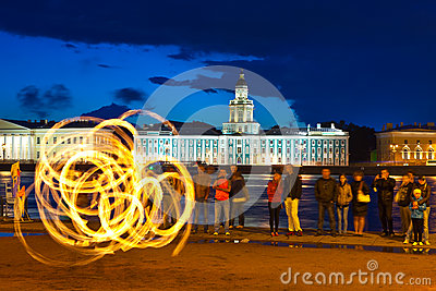 Fire show in night Neva embankment Editorial Stock Image
