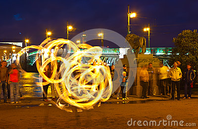 Fire show in night Neva embankment Editorial Image