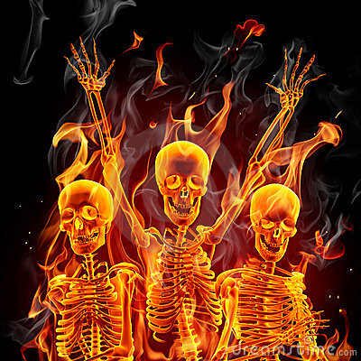 Fire skeletons