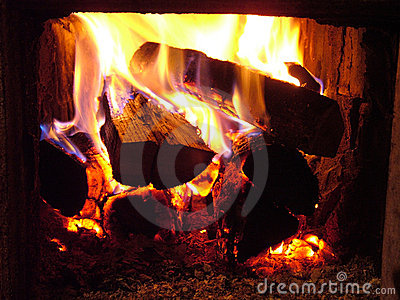 Fire in stove
