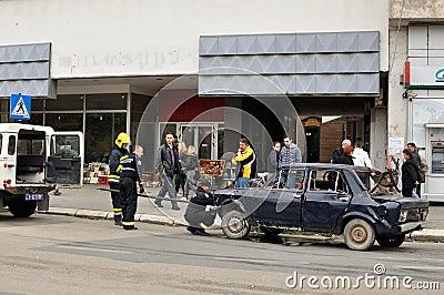 Fire on street in Zajecar,Serbia Editorial Stock Photo