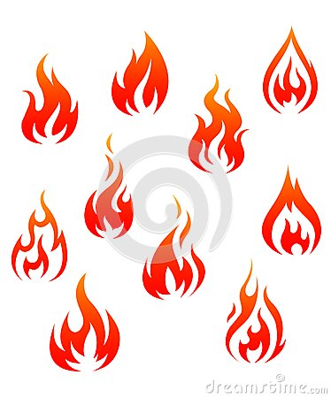 Set of fire flames isolated on white background as warning symbols.
