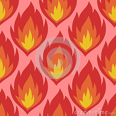 Free Fire Symbols Seamless Pattern Vector Illustration Spurts Of Flame Red Orange Background. Royalty Free Stock Images - 97328799