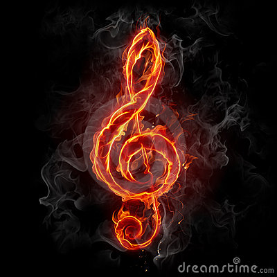 Free Fire Treble Clef Royalty Free Stock Photography - 8888597