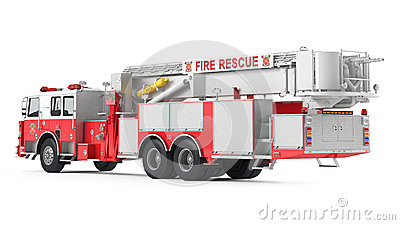 Fire truck back isolated