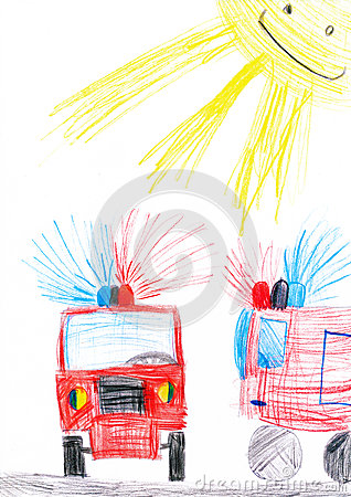 Fire truck. child s drawing.