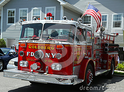 Fire truck on display at the Mill Basin car show Editorial Stock Image