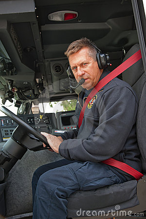 Fire Truck Driver with Headphone on
