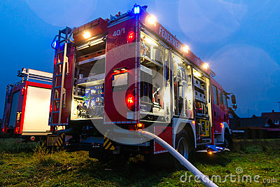 Fire truck with lights in deployment Editorial Stock Image