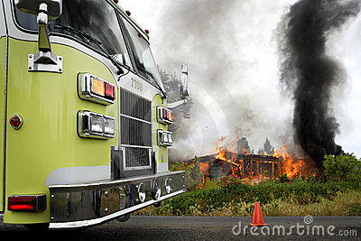 Fire truck at house fire Editorial Photo