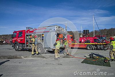 Fire truck with equipment are prepared, photo 24 Editorial Photography