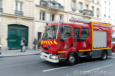 Fire Truck in Paris Editorial Stock Image